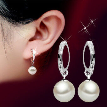 Silver Plate Statement Wedding Stud Earring Pendientes Pearl Earrings For Women Pearls Jewelry - intl