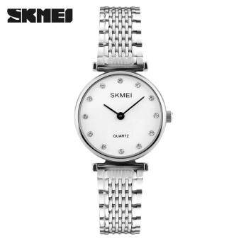 SKMEI New Fashion Women Quartz Watches Casual Dress GirlsWristwatches Rhinestones Waterproof Ladies Watch 1223 - SilverWhite - intl