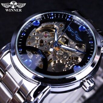 Winner Blue Ocean Fashion Casual Designer Stainless Steel MenSkeleton Mens Luxury Automatic Watch - Intl