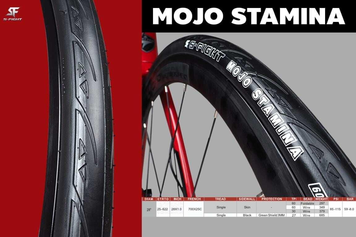 ยางจักรยาน ยางนอกจักรยาน 700c ยางนอกเสือหมอบขอบพับ 700x23c S-Fight รุ่น Mojo Stamina มีกันหนาม.