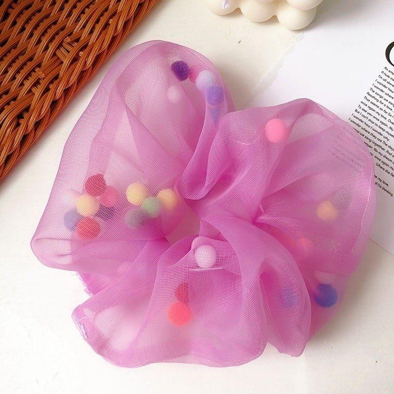 ยางมัดผมซีฟอง มีลูกบอลสีสดใส แฟชั่นเกาหลี