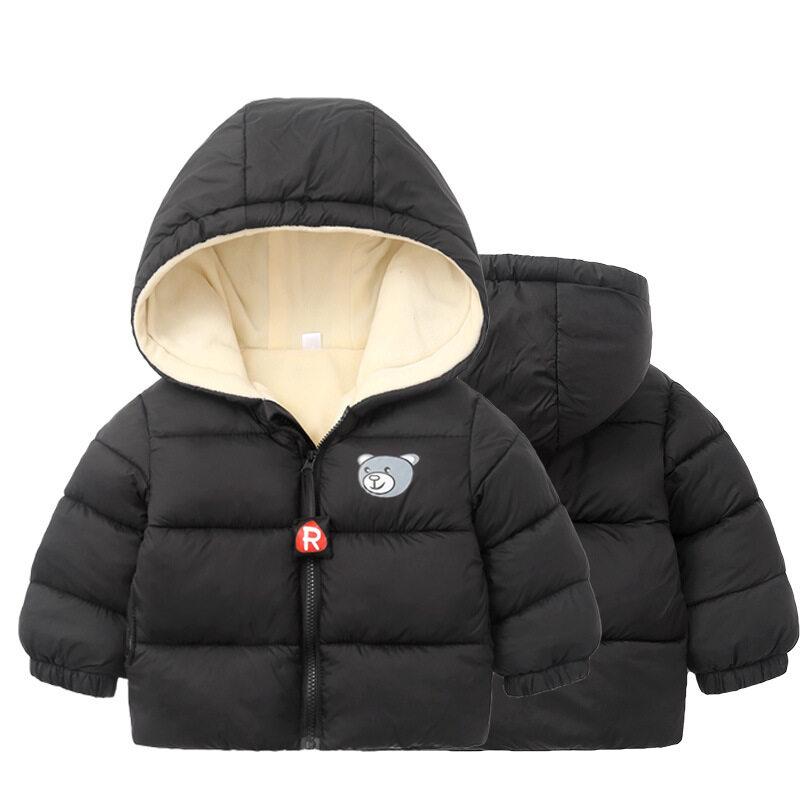 JZB558เด็กผู้ชายเด็กสาวเสื้อคลุมฤดูหนาว Zip หิมะอุ่น Hoodie Outwear