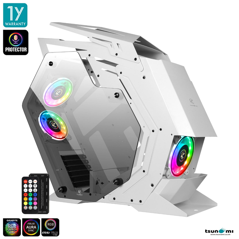 Tsunami Protector Beast Kk Argb Sound Sync Tempered Glass Mutant Atx Gaming Case + Protector 1262 12cm Argb Cooling Fan X 3pcs.