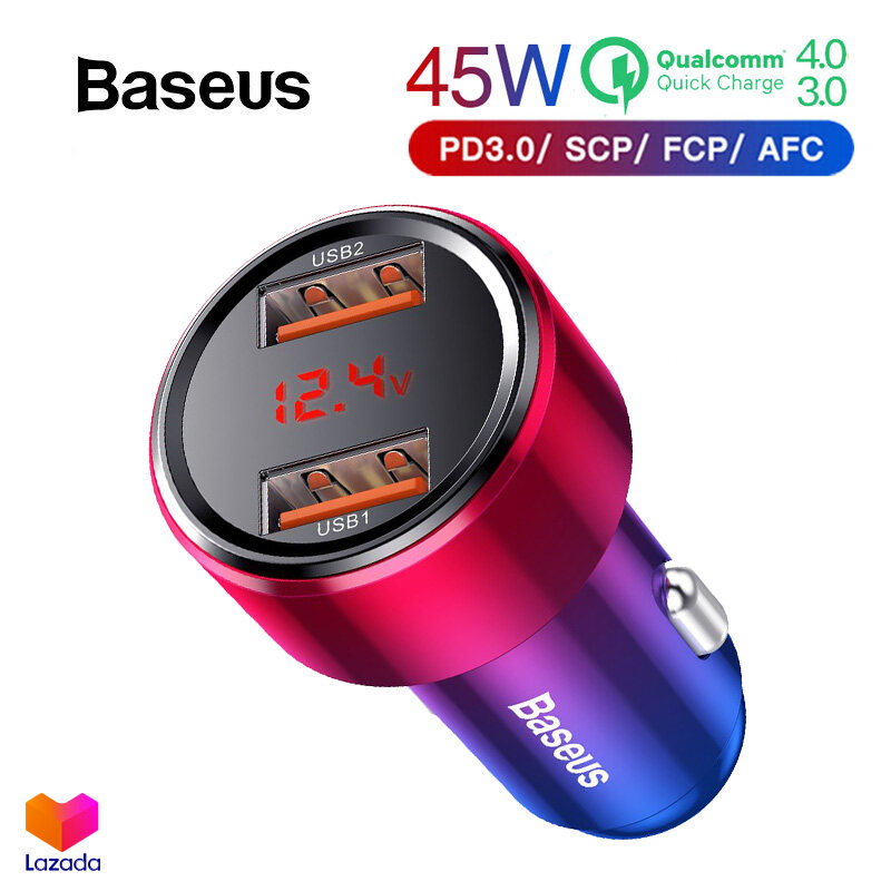 Baseus ที่ชาร์จในรถ 6A 45W Quick Charge 4.0 + QC3.0 + PD3.0 + HW Super Charger สำหรับ Huawei Xiaomi One Plus iPhone รุ่น BS-C20A