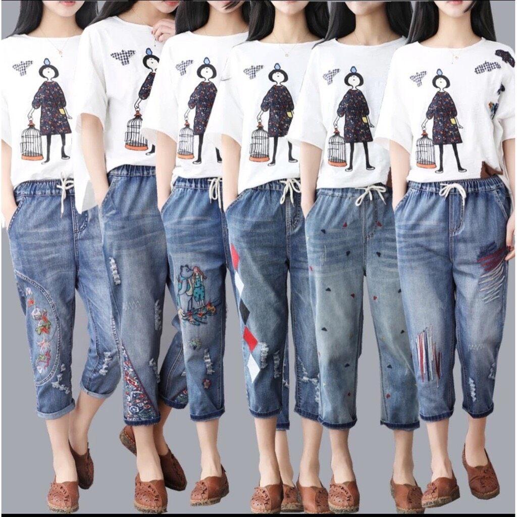 กางเกงยีนส์เอวยางยืด เสื้อผ้าแฟชั่นผู้หญิง กางเกง กางเกงยีนส์ กางเกงยีนส์ปักลาย น่ารัก นิ่มใส่สบาย เนื้อผ้าดี สีไม่ตก.