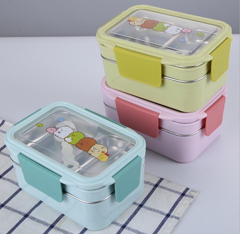 กล่องข้าวคอนโด 2 ชั้น ลาย sumikko gurashi พร้อมช้อน อุ่นร้อนได้ในตัว