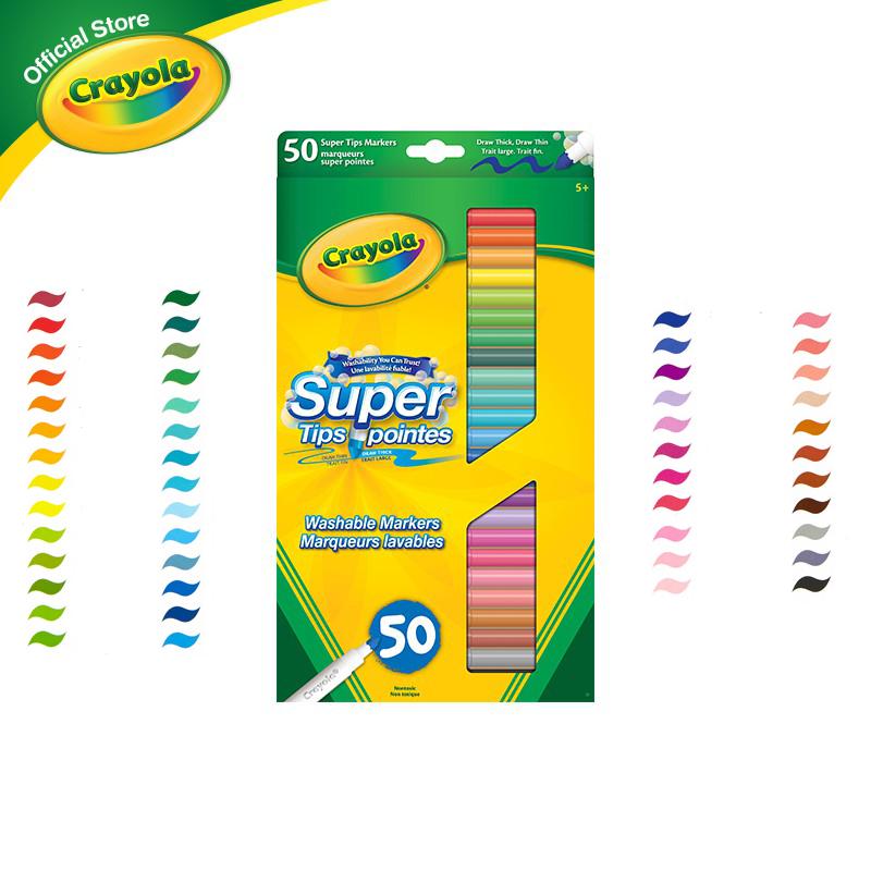Crayola Super Tips Washable Markers เครโยล่า สีเมจิกล้างออกได้ ซุปเปอร์ทิปส์ 50 สี สำหรับเด็ก อายุ 3 ปี ขึ้นไป.