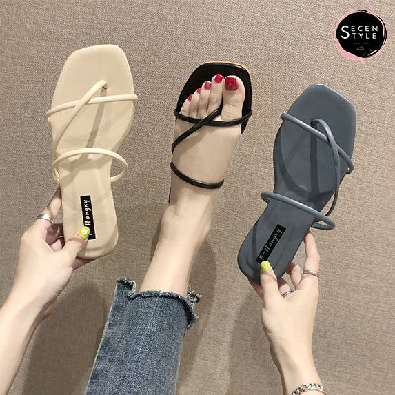 *secen* Slipper Shoe //รองเท้าพรีเมียม-มีกล่อง// รองเท้าแตะหนังpu หนังนุ่ม ที่รองส้นเท้าหนา +มีเก็บเงินปลายทาง+ (รุ่น Ss-528).