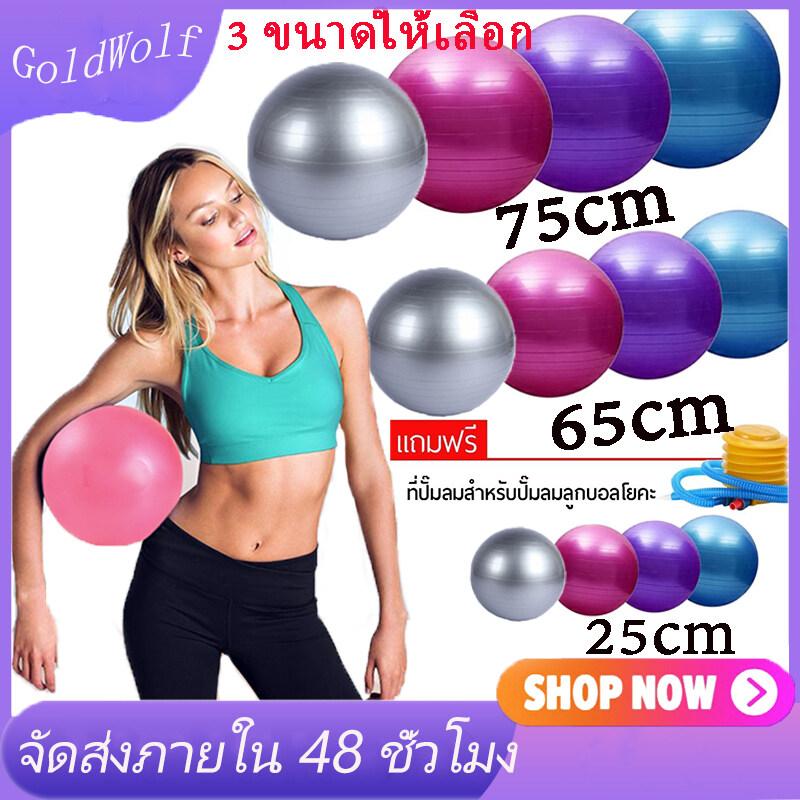 ลูกบอลโยคะ บอลโยคะ ลูกบอลฟิตเนส พร้อมที่สูบลูม ขนาด 75cm 65cm 25cm Yoga Ball.