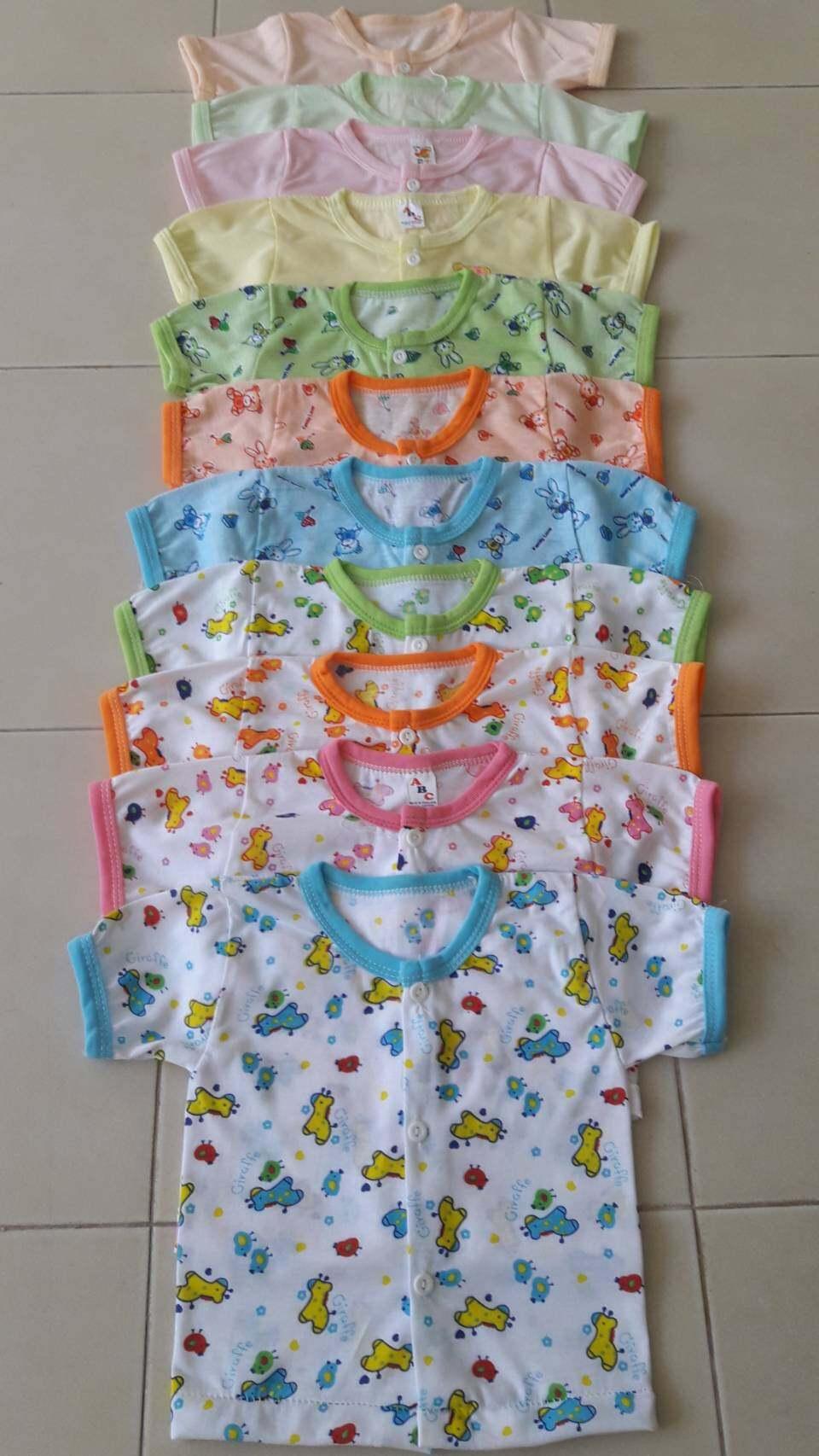 (แพ็ค 6 ตัว)เสื้อแขนสั้นกระดุมหน้า เด็กแรกเกิด - 6 เดือน ผ้า Cotton คละสีคละลาย (รอบอก 20 นิ้ว ยาว12 นิ้ว) แบบลายเสื้อเปลี่ยนไปตามรอ.