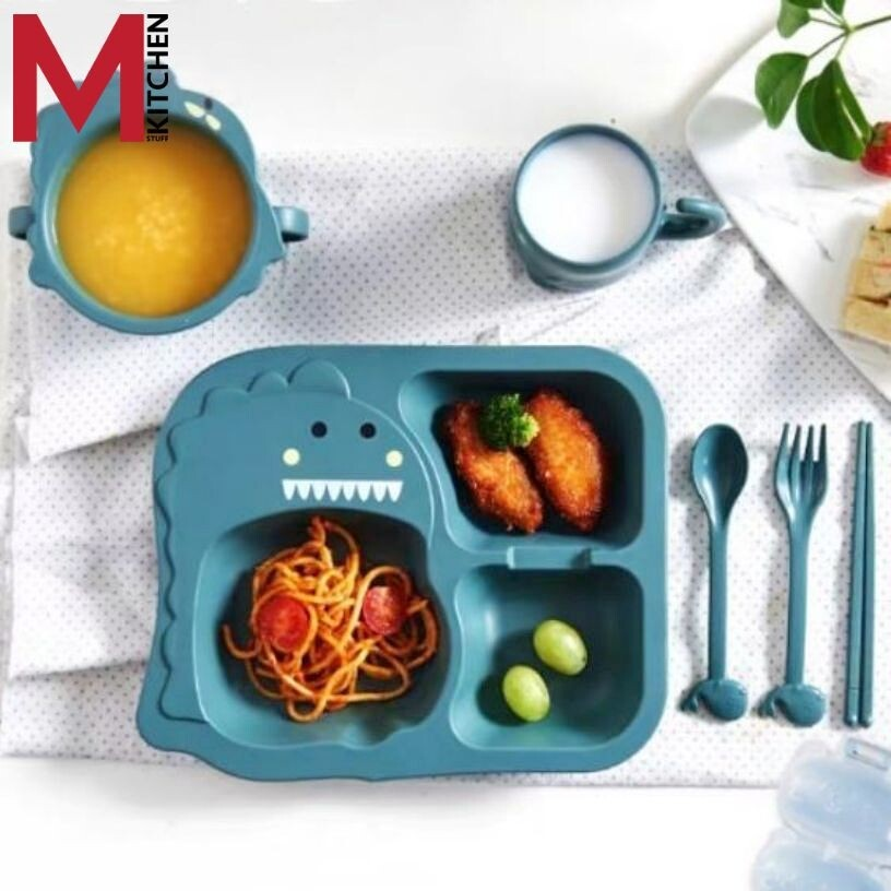 M KITCHEN จาน จานข้าว ชาม ขามข้าวเด็ก จานอาหาร ถาดหลุม พร้อมช้อนส้อม ตะเกียบแก้วน้ำ
