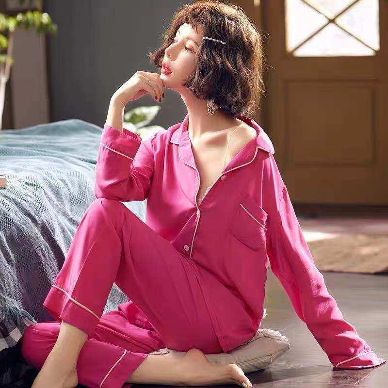 2222 ชุดนอนน่ารักๆ ผ้านิ่มอย่างฟิน สีสดสวยมากก ไม่เครืองผิวเลย สไตล์เกาหลี (สินค้าพร้อมส่ง)