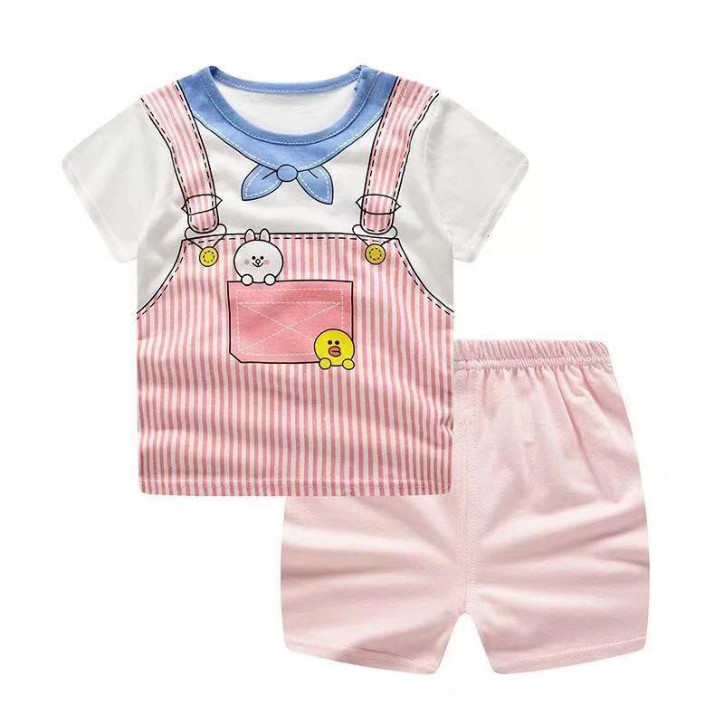 Bala Babyเสื้อผ้าเด็ก เซ็ต2ชิ้น เสื้อยืดคอกลม+กางเกงขาสั้น ชุดเด็กDXT01