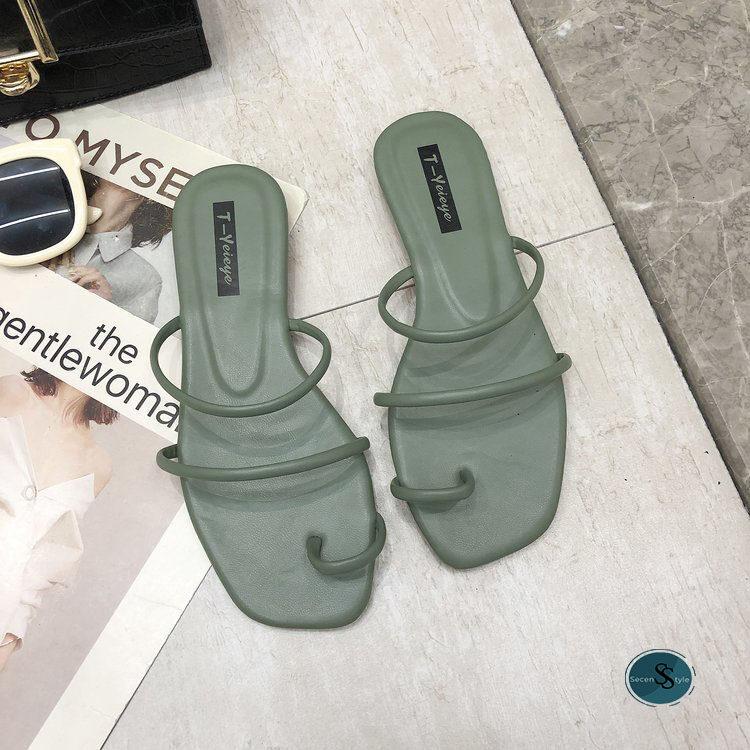 *SECEN* Slipper Shoe //รองเท้าพรีเมียม-มีกล่อง// รองเท้าแตะหนังPU หนังนุ่ม ที่รองส้นเท้าหนา +มีเก็บเงินปลายทาง+ (รุ่น SS-521)