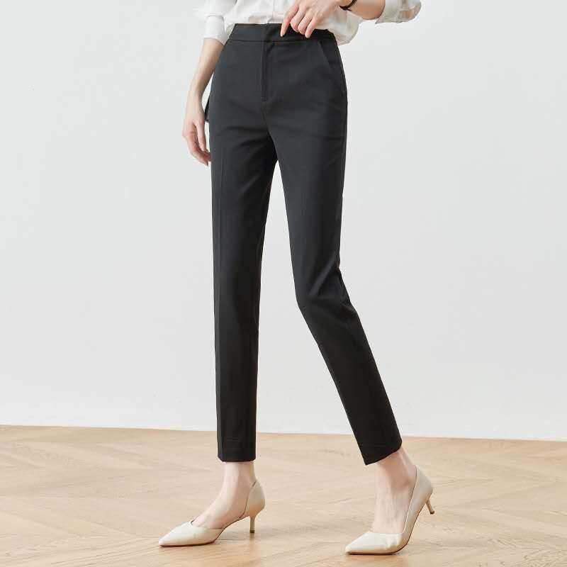 กางเกงผู้หญิงผ้าโรเชฟ 9 ส่วนเอวสูงซิปหน้า เนื้อผ้าโรเชฟ 100%ความยาว 36นิ้ว.