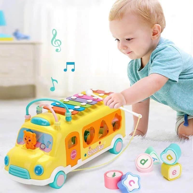 รถตู้หยอดบล็อค ลากเล่นได้ มีระนาด ของเล่นเสริมพัฒนาการ โทนสีพาสเทลสวยงาม ราคาถูก พร้อมส่งจากไทย.