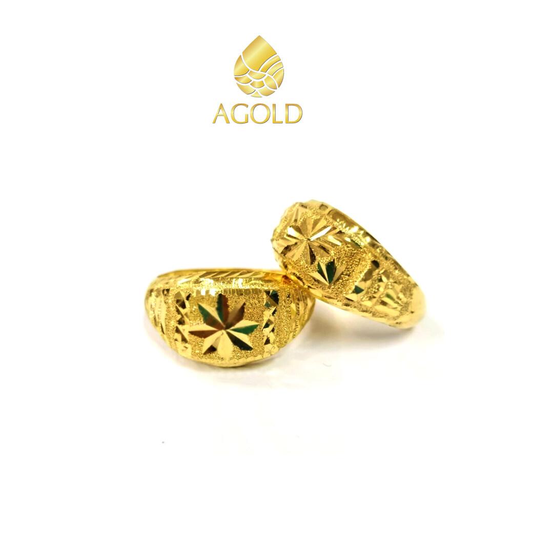 AGOLD แหวนทองคำแท้ 96.5% ลายโปร่งจิกเพชร คละแบบ คละลาย  น้ำหนัก ครึ่งสลึง ( 1.9 กรัม ) ฟรีกล่องใส่เครื่องประดับ