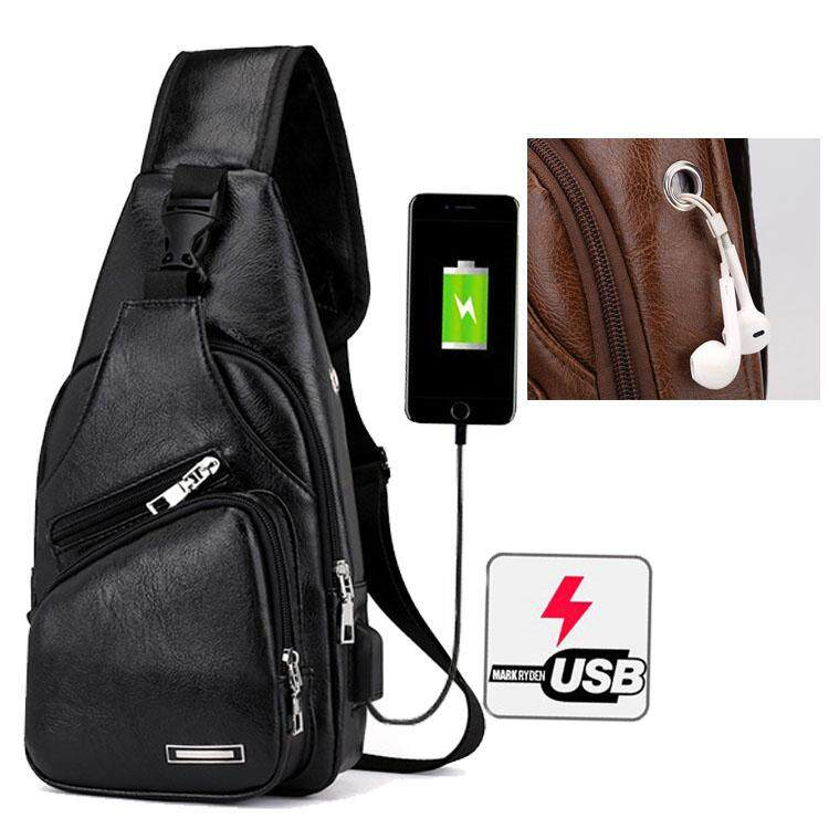 กระเป๋าสะพายหนังเย็นสบาย ๆ แฟชั่นผู้ชายกระเป๋า Messenger USB ชาร์จหลุมหูฟังภายนอกมัลติฟังก์ชั่ความจุขนาดใหญ่กระเป๋าหน้าอกป่า