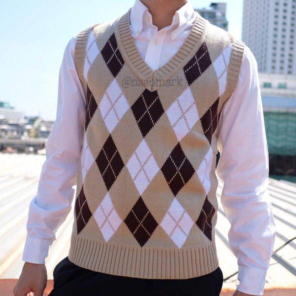 9104 เสื้อกั๊ก ไหมพรม คอวี ข้าวหลามตัด เสื้อกันหนาว Naao Mark หนาวมาก.