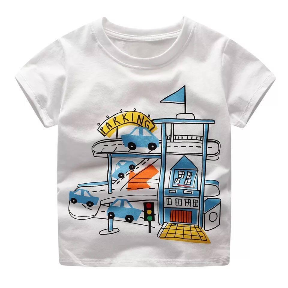 Babyonline(Y272)A3เสื้อยืดคอกลมลายการ์ตูนสำหรับเด็ก