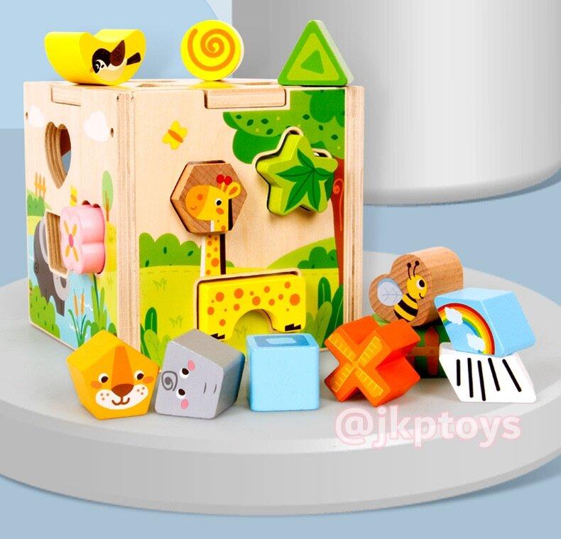 ❤️ส่งฟรี❤️todds & Kids Toys ของเล่นเสริมพัฒนาการ ของเล่นไม้ บล็อคหยอดไม้ลายสัตว์สอนรูปทรง.