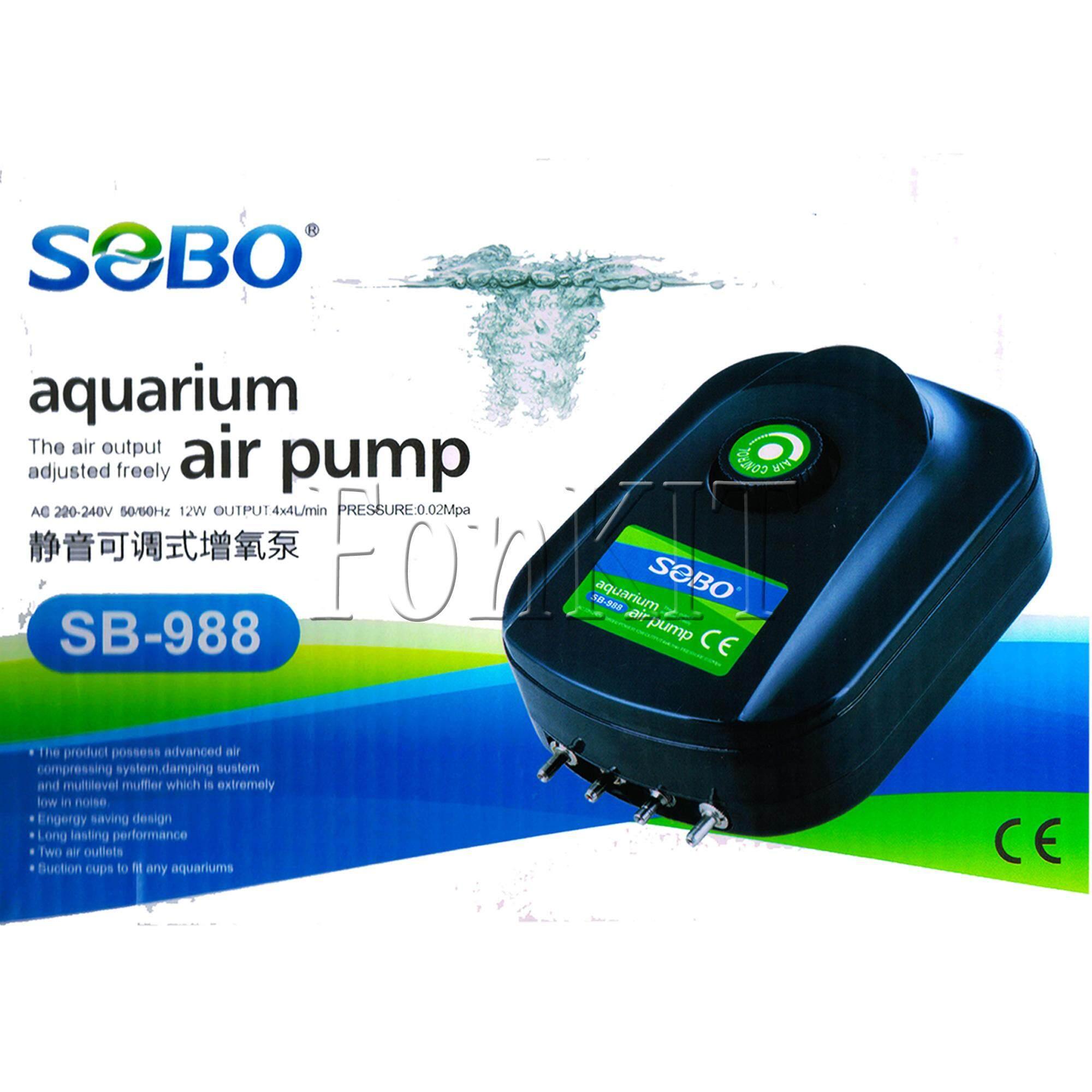 SOBO ปั้มอ๊อกซิเจน ตู้ปลา ปั้มลม SB-988 เสียงเงียบ 4ทาง ขนาด 12W มีปุ่มโวลุมปรับแรงดันลมได้หลายระดับ OUTPUT 4x4L/min PRESSURE 4x0.02Mpa ใช้ไฟน้อย ประหยัดไฟ เลี้ยงปลา บ่อปลา กุ้ง เต่า ไม้น้ำ น้ำพุ ทำออกซิเจน ไม่มีเสียงรบกวน น้ำใส แรง สม่ำเสมอ ปลาทะเล
