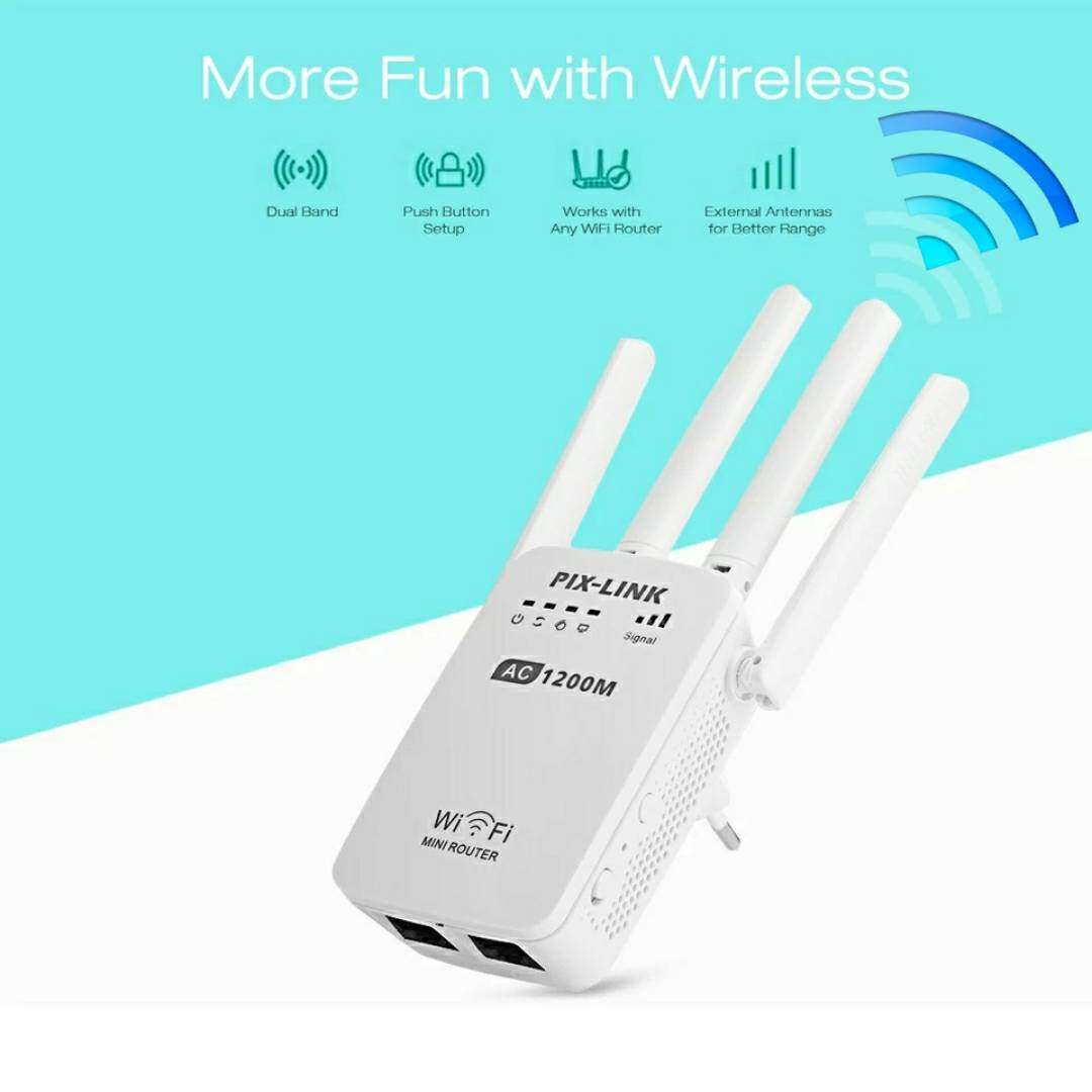 Pix-Link Ac05 1200mbps Dual Frequency 2.4g 5g Wireless Repeater High Speed 5g Gigabit Wifi Router Antenna เครื่องกระจายสัญญาณ รุ่นใหม่.