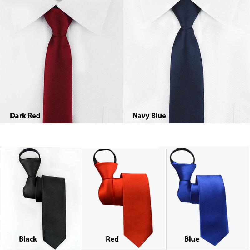 เนคไท ไม่ต้องผูก แบบซิป Neck Tie Mens Skinny Zipper Ties Red Black Blue Solid Color Slim Narrow Bridegroom Party Dress Necktie.