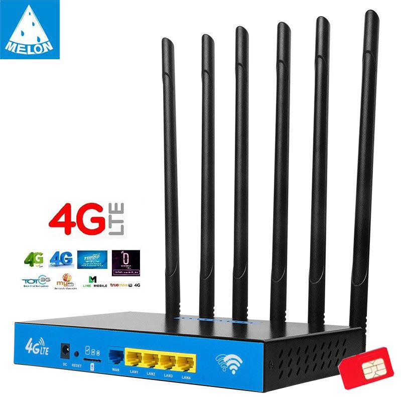 1200mbps 4g เราเตอร์ใส่ชิม 6 เสา 2.4g+5g Dual Band Indoor 4g Cpe Sim Card Wifi Router.