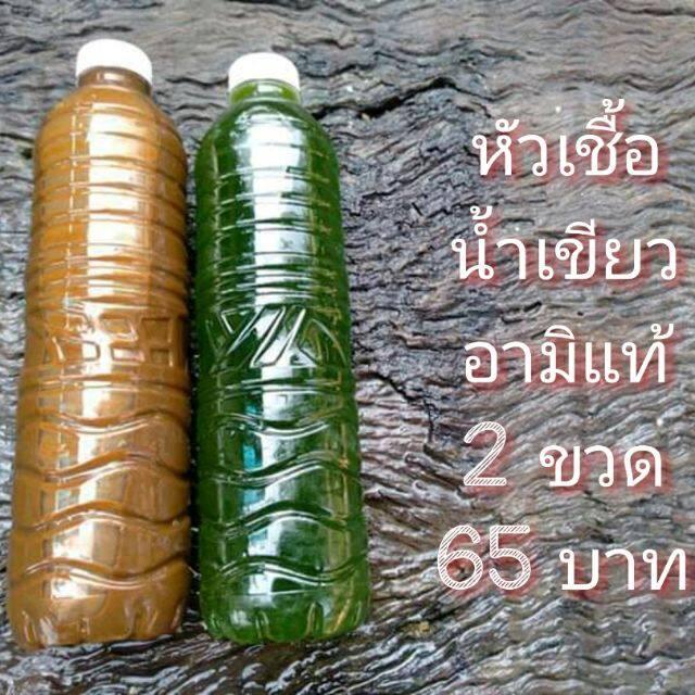 หัวเชื้อน้ำเขียว 1 ขวดและอามิแท้ 1 ขวด ขนาด 600 มล/ขวด