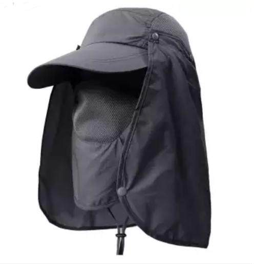 Best หมวกดวงอาทิตย์ 360 หมวกตกปลากันแดดพร้อมผ้าปิดหน้าถอดออกได้ (สีเทาเข้ม) M-Z.