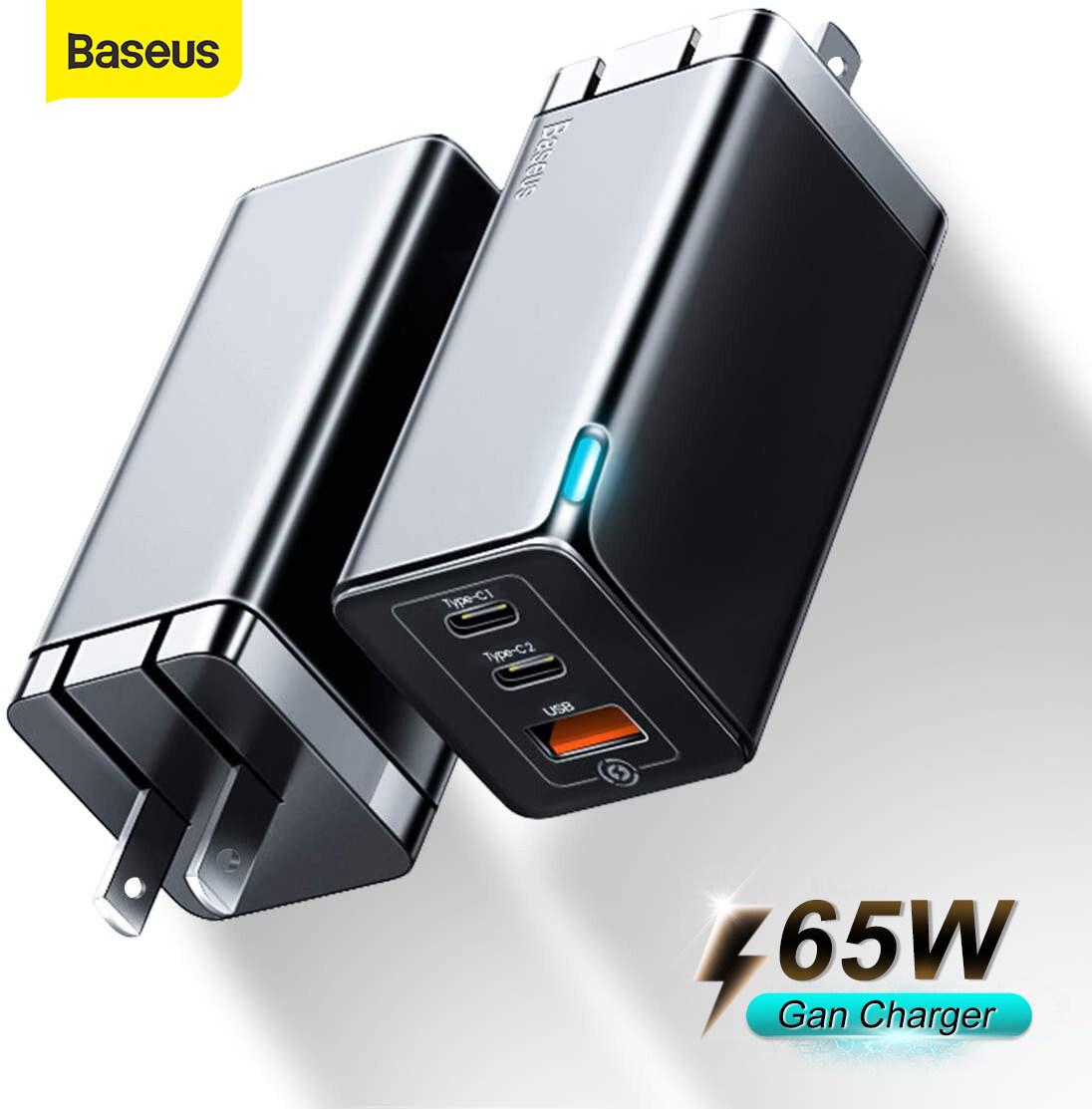 Baseus หัวชาร์จเร็ว 65w Gan 2pro Usb Type C Fast Quick Charge Adapter หัวชาร์จไอโฟน อุปกรณ์ชาร์จมือถือ Samsung Iphone.