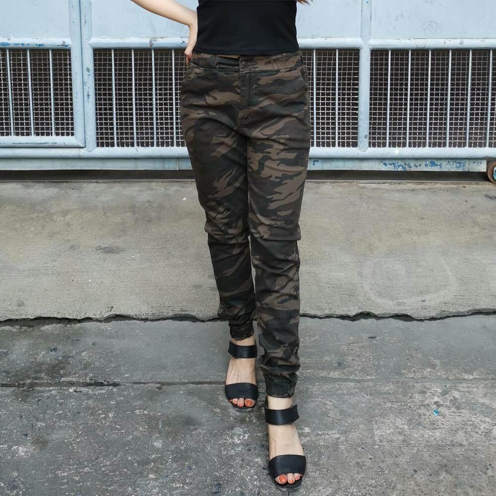 Golden Zebra Jeans กางเกงยีนส์หญิงลายทหารขาจั๊มสีน้ำตาลเขียว.