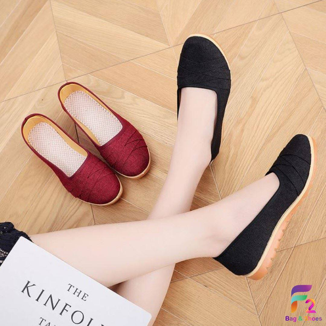✧f2 Shoes✧ รองเท้าผ้าใบ สลิปออน สุดเก๋ 2 สี เบอร์ 35-40.