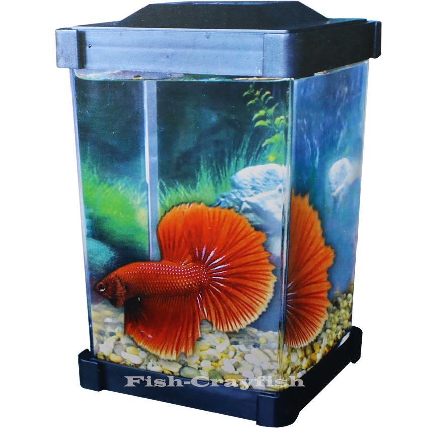 Fish-Crayfish ตู้ปลากัด โหลปลากัด ตู้ปลาหางนกยูง ปลาขนาดเล็ก ตู้ปลาชนิดพลาสติก ไร้รอยต่อ น้ำหนักเบา ขนาด 1.25 ลิตร พร้อมฝาครอบ แถมแผ่นกั้น