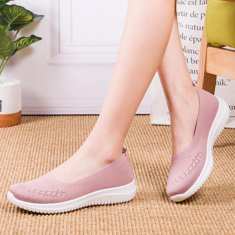 MUM รองเท้าผ้าใบแบบสลิปออน รองเท้าผ้าใบเพื่อสุขภาพ รองเท้าผ้าใบผญ รองเท้าใส่เดิน สไตล์สาวเกาหลี