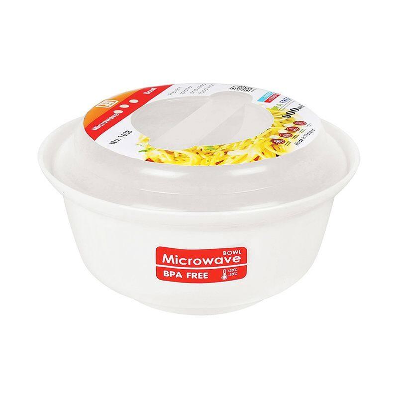 กล่องอาหารไมโครเวฟทรงกลม รุ่น 1638 ขนาด 18.5 x 18.5 x 10 ซม. 900 มล. สีขาว