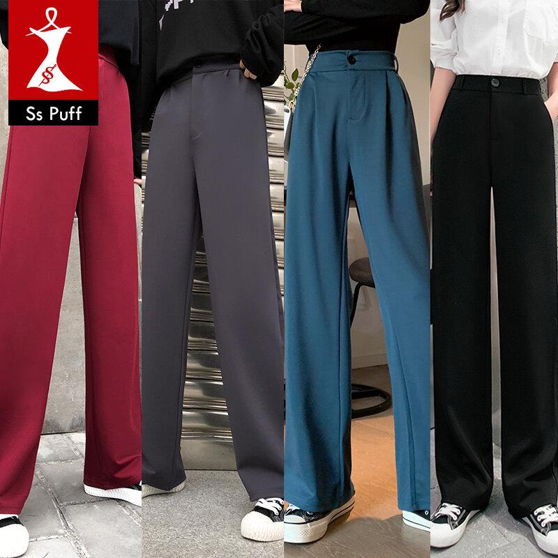 กางเกงเอวบาง สไตล์ใหม่ กางเกงลำลอง กางเกงขากว้าง กางเกงผู้หญิง กางเกงขายาวใส่แล้วดูผอม กางเกงลำลอง ไซส์ใหญ่.