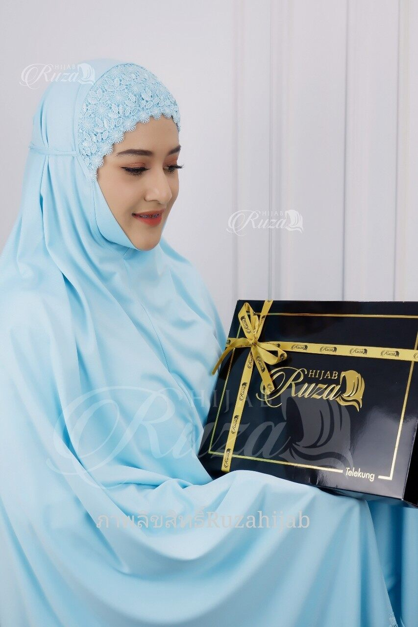 ผ้าละหมาด ชุดละหมาด ตะละกง (Telekung) ผ้าคลุมสำหรับละหมาดเนื้อผ้าViscoseผ้านิ่มใส่สบายไม่ร้อนมาพร้อมกล่อง
