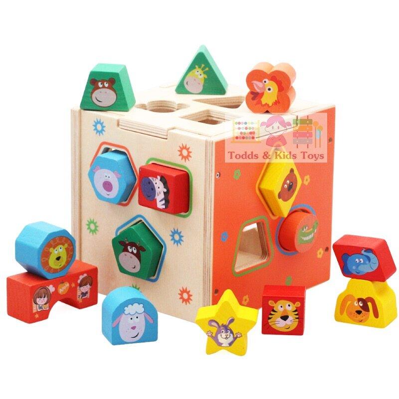 Todds & Kids Toys ของเล่นเสริมพัฒนาการ ของเล่นไม้ บล็อคหยอดไม้ 15 รูปทรง.