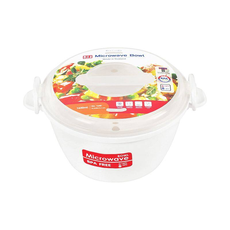 กล่องอาหารไมโครเวฟทรงกลม รุ่น 1640 ขนาด 24.5 x 20 x 12.4 ซม. 1,600 มล. สีขาว