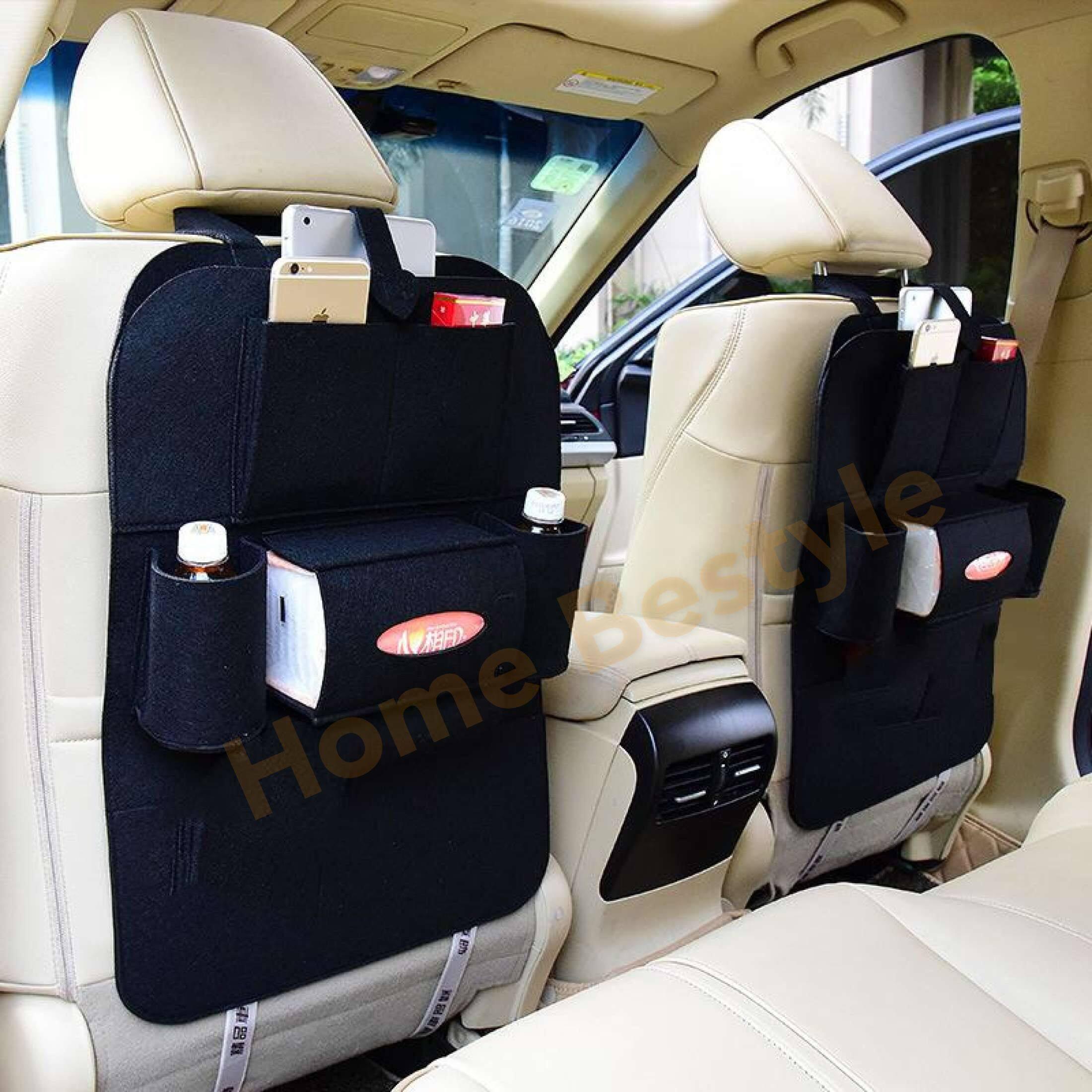 อุปกรณ์ยานยนต์ ถุงเก็บรถ ถุงจัดเก็บเบาะหลังที่นั่งรถ เก็บกระเป๋า สามารถใส่เครื่องดื่ม หนังสือ มือถือ ถุงจัดเก็บมัลติฟังก์ชัน