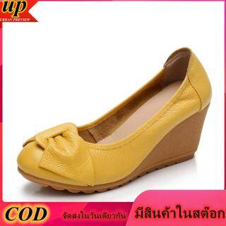 1F169 New Women s Wedges High Heels Shoes Woman Comfortable Leather With Single Shoes 1