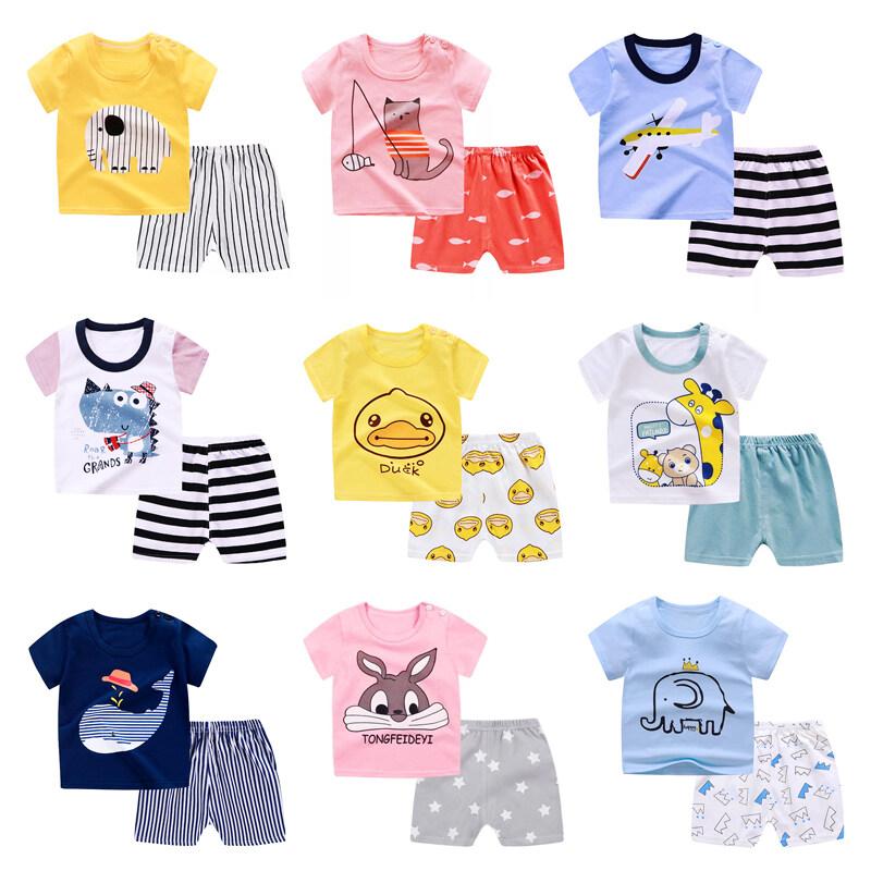 Bala Babyเสื้อผ้าเด็ก เซ็ต2ชิ้น เสื้อยืดคอกลม+กางเกงขาสั้น ชุดเด็กdxt01.