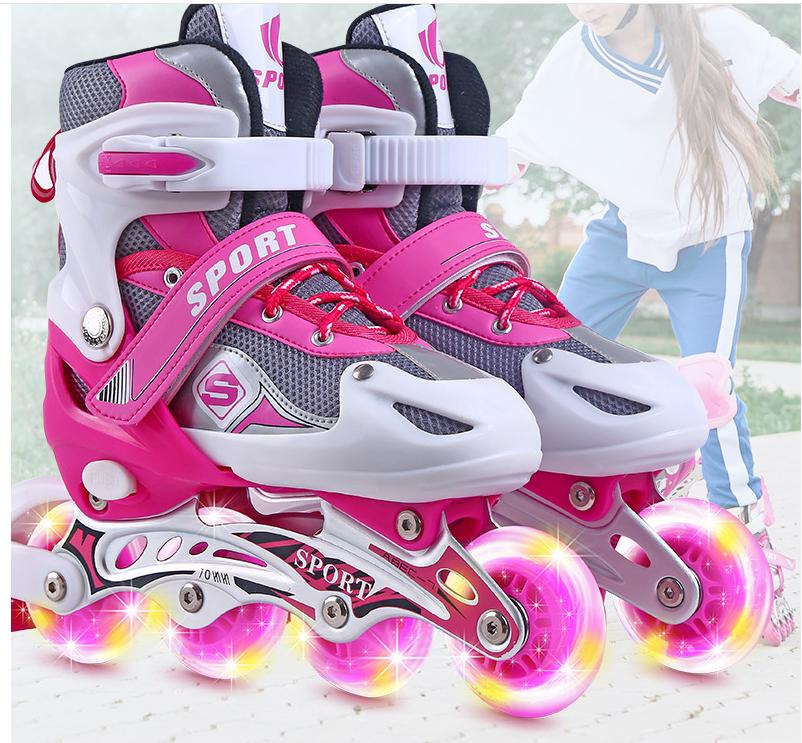 D&coutdoor รองเท้าสเก็ต รองเท้าสเก็ตสำหรับเด็กของเด็กหญิงและชาย โรลเลอร์สเกต Size S M L ล้อมีไฟ สีฟ้า สีชมพู สีแดง ปลอดภัย วัสดุได้มาตรฐา.