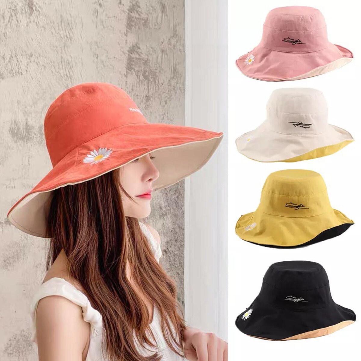 หมวก หมวกกันแดด หมวกวินเทจ หมวกแฟชั่น หมวกบักเก็ต หมวกผู้หญิง หมวกกันแดดหญิง หมวกแฟชั่นหญิง หมวกบักเก็ตผญ ใส่ได้ 2 ด้าน / Jt.fashion.