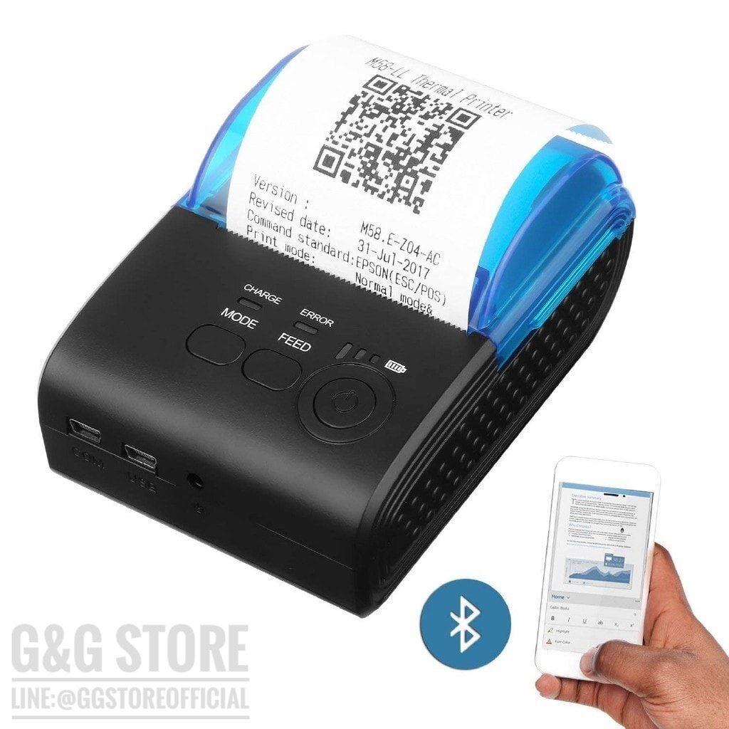 เครื่องพิมพ์ใบเสร็จผ่านบลูธูท Barigan รุ่น Gg-5805dd Portable 58mm Bluetooth.