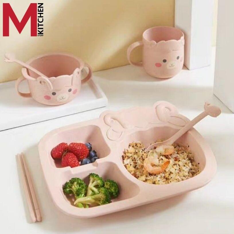 M Kitchen จาน จานข้าว ชาม ขามข้าวเด็ก จานอาหาร ถาดหลุม พร้อมช้อนส้อม ตะเกียบแก้วน้ำ.