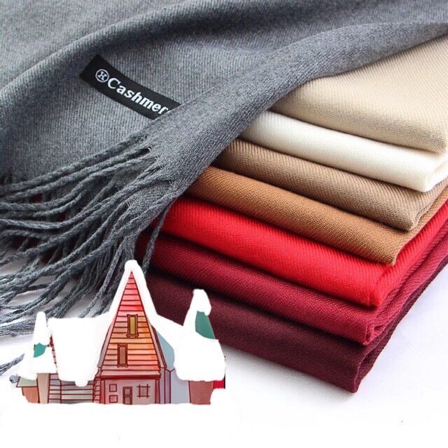 Cashmere Scarf ผ้าพันคอ ผ้ากันหนาว ผ้าคลุมไหล่ แคชเมียร์ สีพื้น.