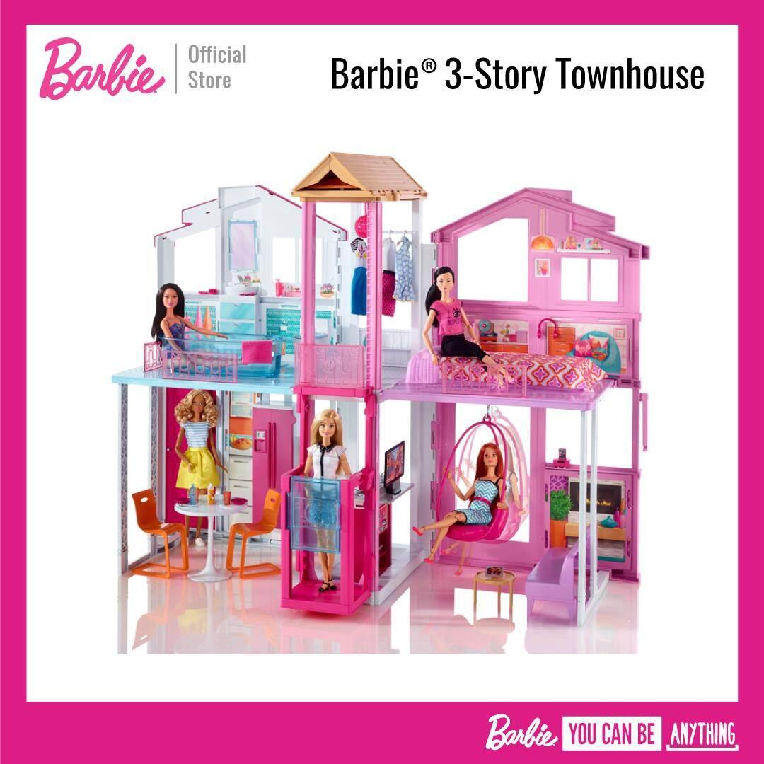 Barbie® 3-Story Townhouse บ้านทาวเฮ้าส์ บาร์บี้ 3 ชั้น (ของเล่นเด็ก, ตุ๊กตา) Dly32.